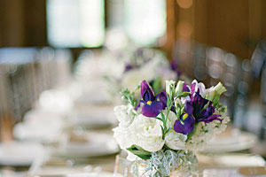 Elegant Purple and White Centerpiece
