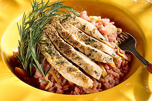 Pinot Noir Risotto With Rosemary Chicken