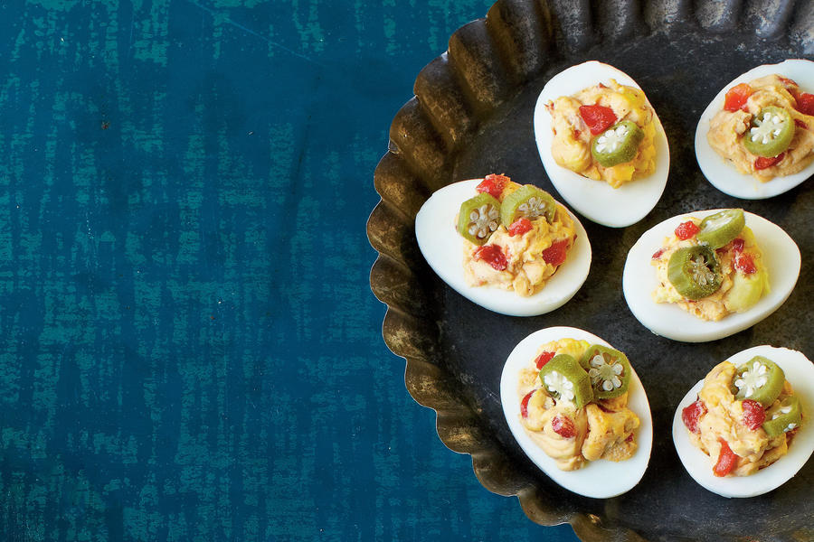 Smoky Blue Deviled Eggs