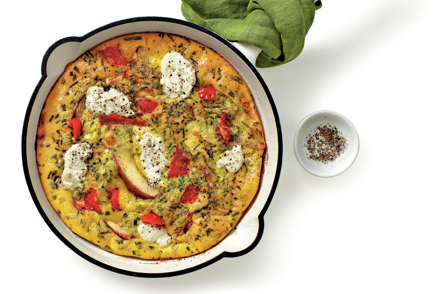 Red Pepper, Potato, and Ricotta Frittata Recipe