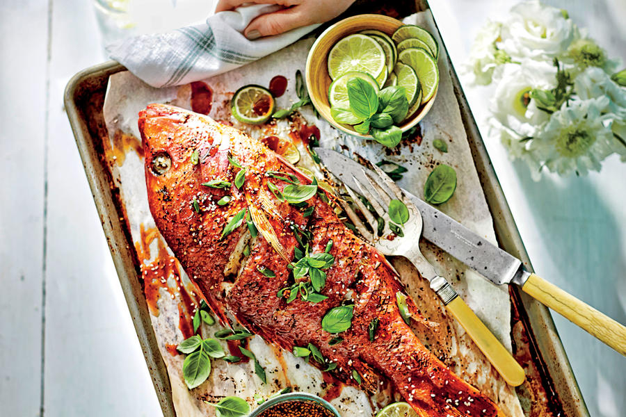 Roasted Whole Teriyaki Snapper