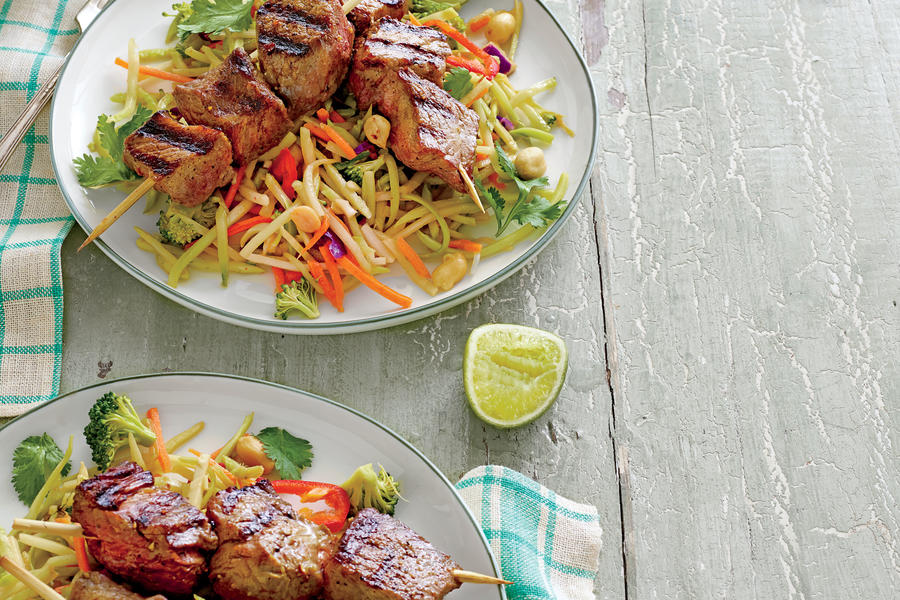 Beef Kabobs with Broccoli Slaw and Peanut Sauce Recipe