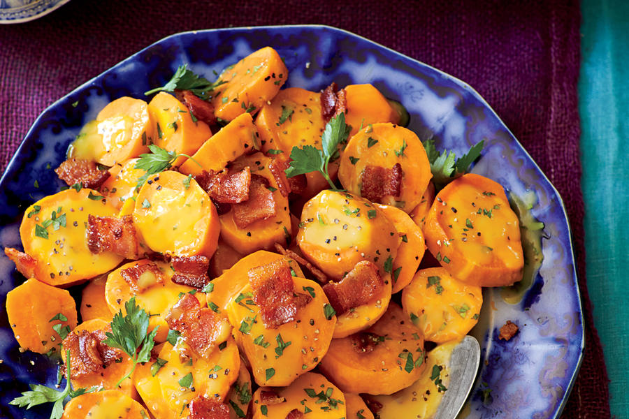 Slow-Cooker Sweet Potatoes with Bacon