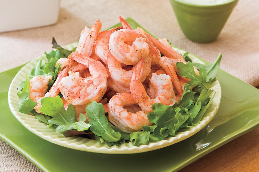 Spicy Boiled Shrimp Recipe With Creamy Buttermilk-Avocado Sauce