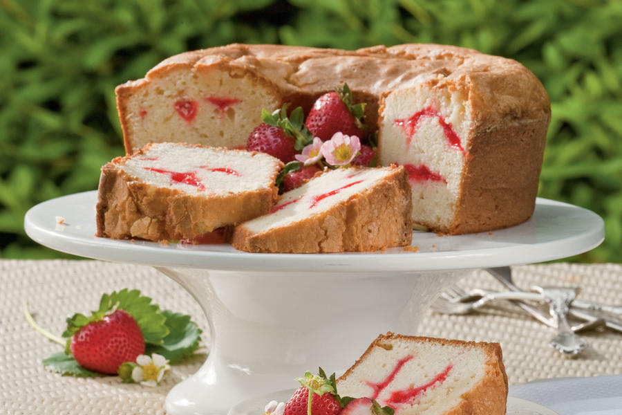 Strawberry Swirl Cream Cheese Pound Cake Recipe