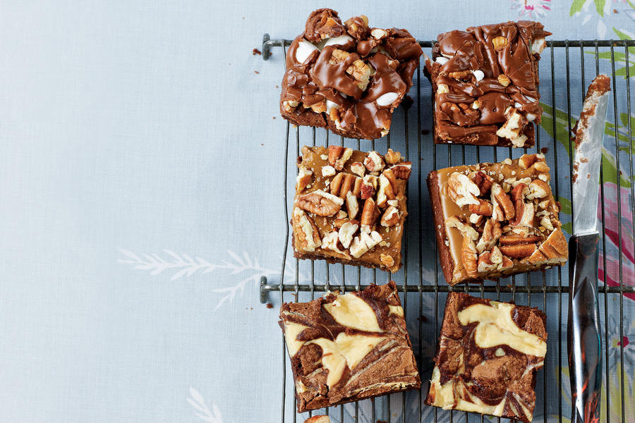 Mississippi Mud, Caramel-Pecan, and Marbled Brownies