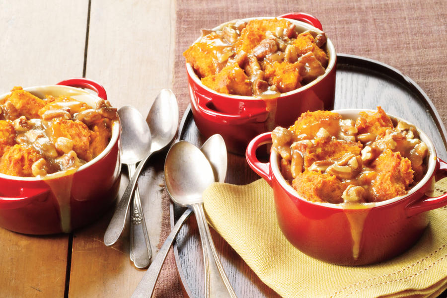 Caramel-Pecan-Pumpkin Bread Puddings