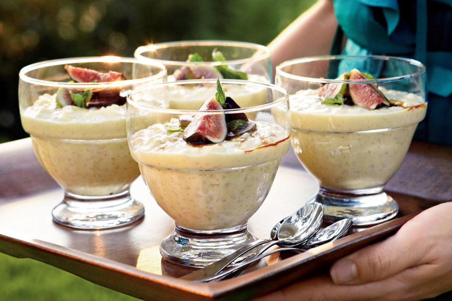 Lemony Rice Pudding with Figs and Saba