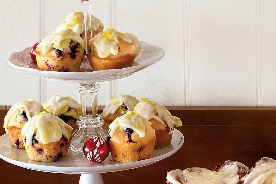 Christmas Brunch Recipes: Blueberry Muffins with Lemon-Cream Cheese Glaze