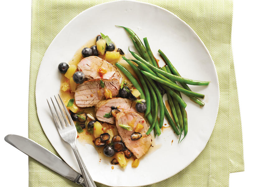 Jerk Pork Tenderloin with Blueberry Salsa
