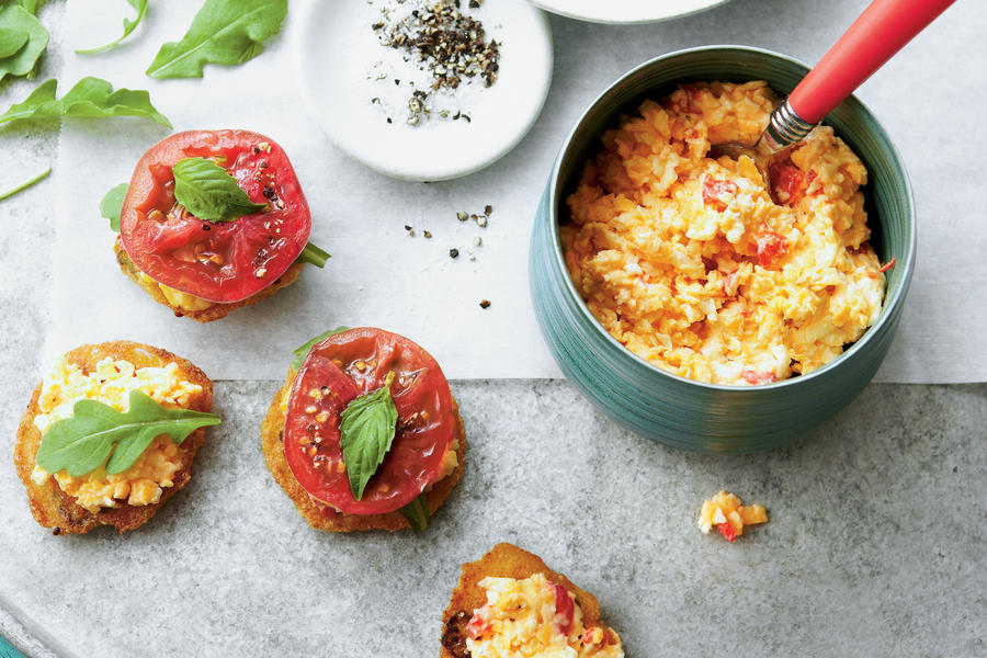 Just Ripe for Summer: Tomato and Okra Cornmeal Cakes