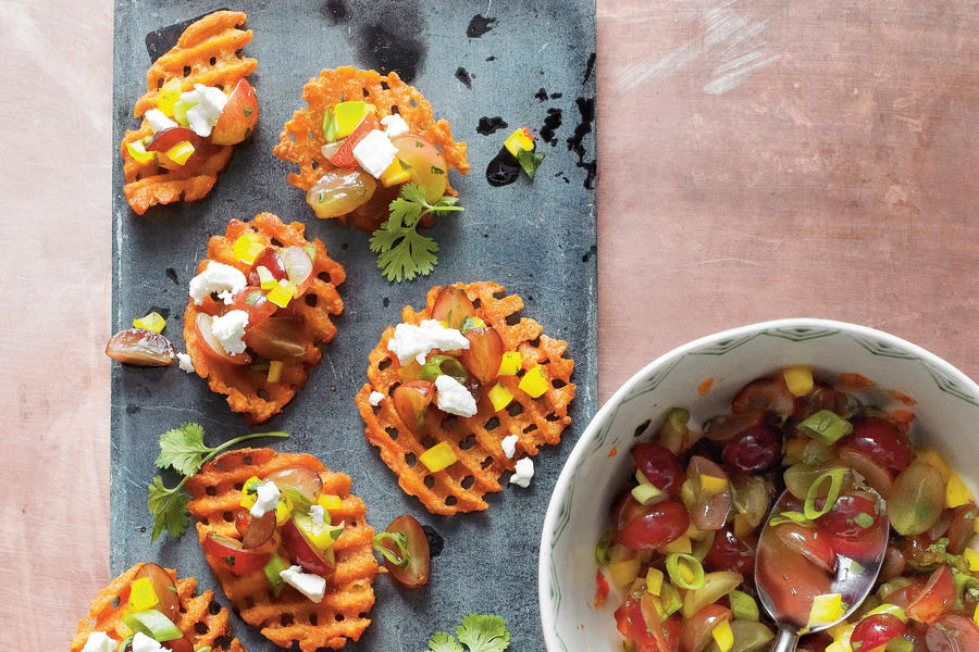 Sweet Potato Crostini with Goat Cheese and Grape Salsa