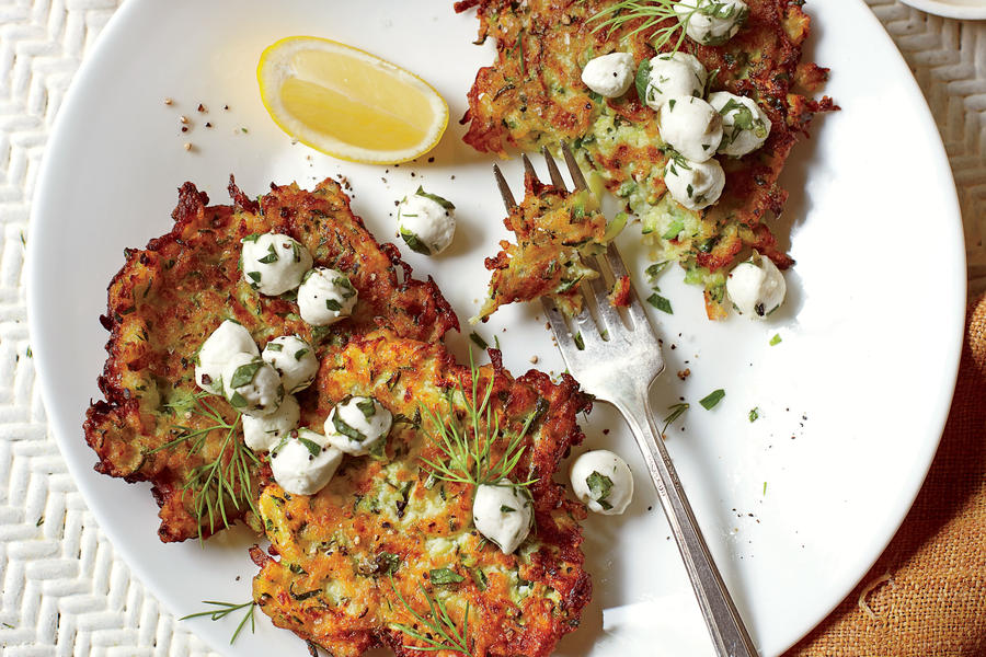 Zucchini Fritters with Herb-and-Mozzerella Salad