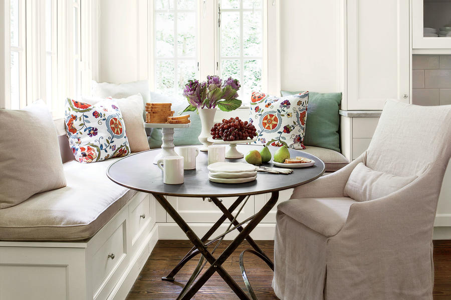 cheery banquette eat in kitchen design ideas southern living