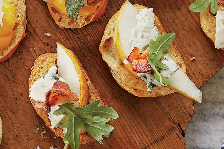 Pear-and-Blue Cheese Crostini