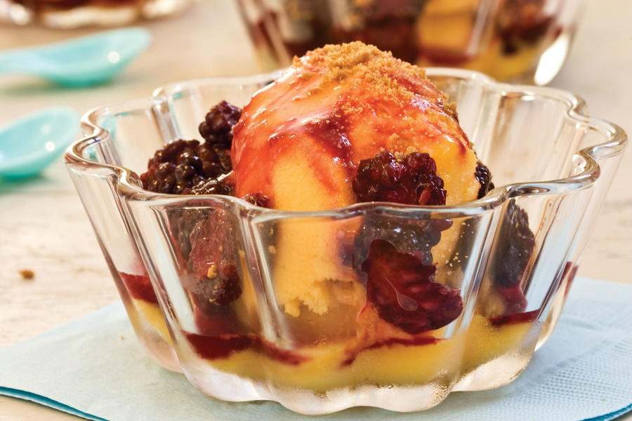 Warm Blackberry Sauce Over Mango Sorbet