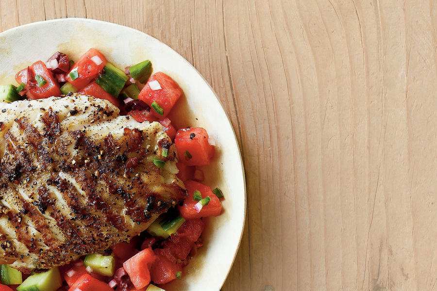 Grilled Grouper with Watermelon Salsa