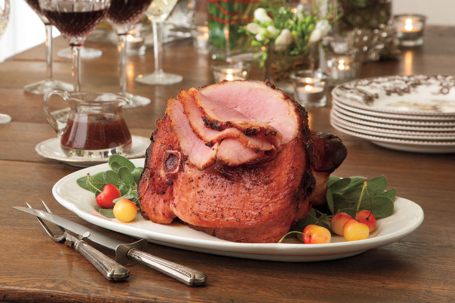 Cherries Jubilee-Black Pepper Glazed Ham
