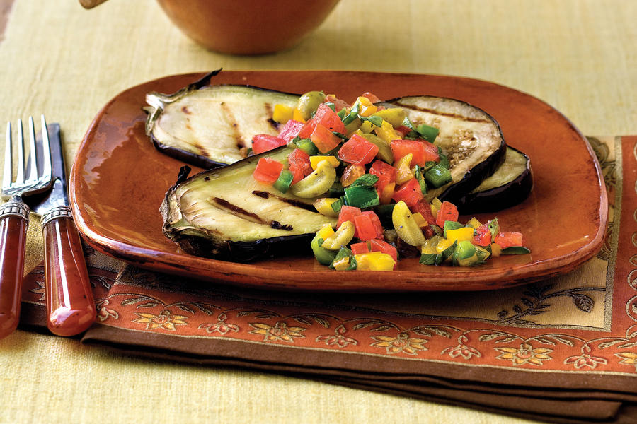 Healthy Food Recipe: Grilled Eggplant With Sweet Pepper-Tomato Topping