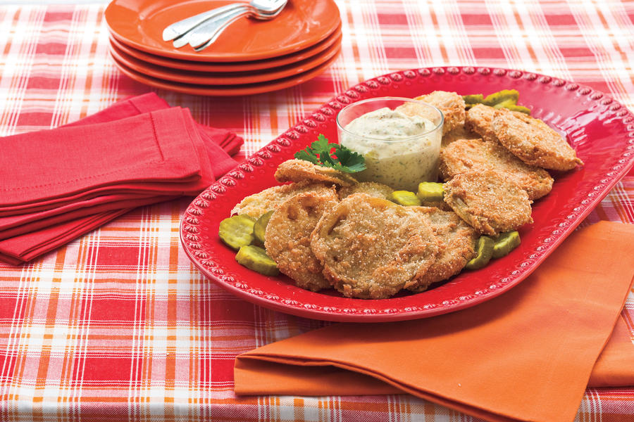 Fried Green Tomatoes With Bread-and-Butter Pickle Remoulade Recipe