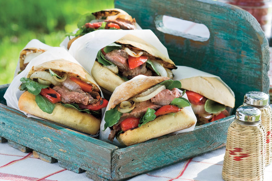 Grilled Burgers and Sanwiches Recipes: Flank Steak Sandwiches with Blue Cheese