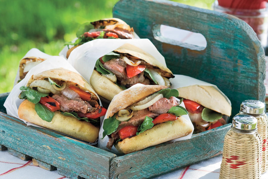 "Flank Steak Sandwiches with ""Go Big Blue"" Cheese"