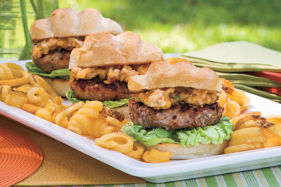 Grilled Burgers and Sanwiches Recipes: Pecan-Crusted Pork Burgers with Dried Apricot-Chipotle Mayonnaise