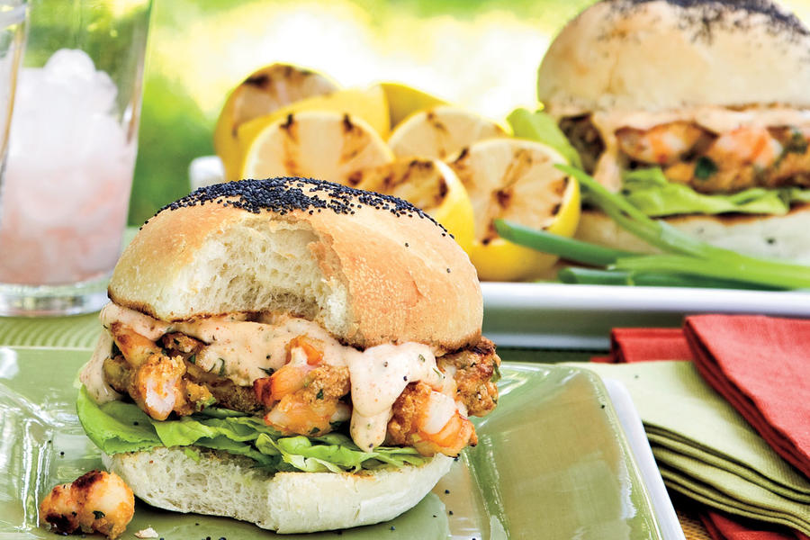 Grilled Burgers and Sanwiches Recipes: Shrimp Burgers with Sweet 'n' Spicy Tartar Sauce