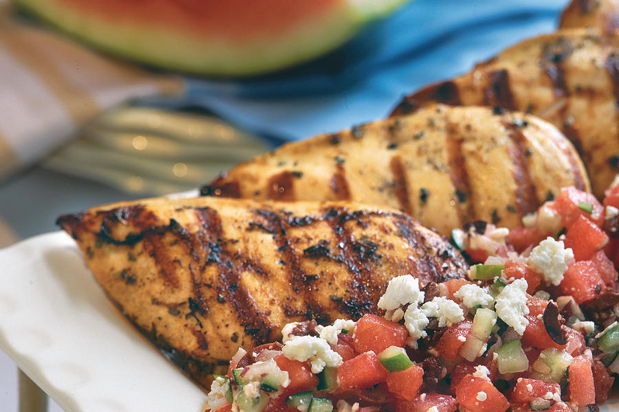 Easy Weeknight Grilling Recipes: Herb-Grilled Chicken With Watermelon-Feta Salad