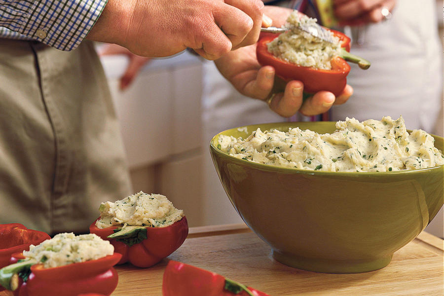 Vegetarian Grilling Recipes: Potato-Stuffed Grilled Bell Peppers
