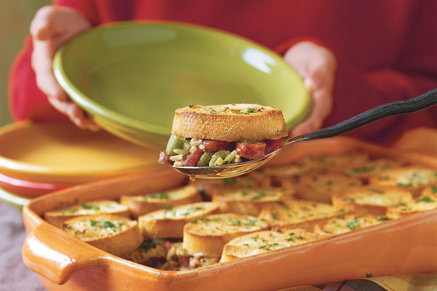 Sausage Gumbo Pot Pie with Garlic Bread Crust