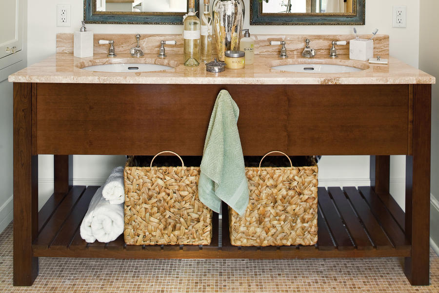Hide Clutter with Baskets
