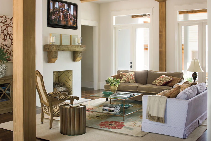 Mix and match patterns 106 living room decorating ideas for Southern style living room designs