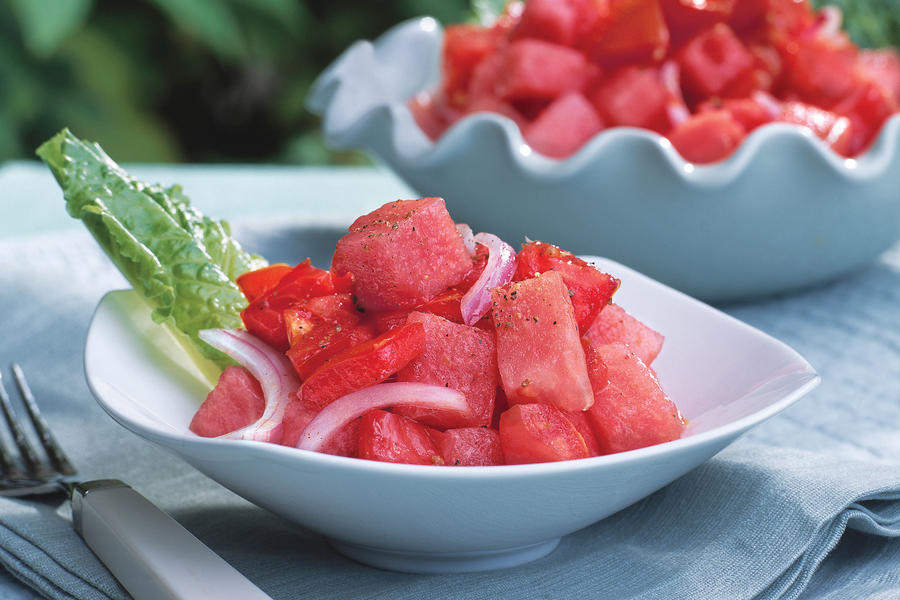Healthy Food Recipe: Tomato-and-Watermelon Salad