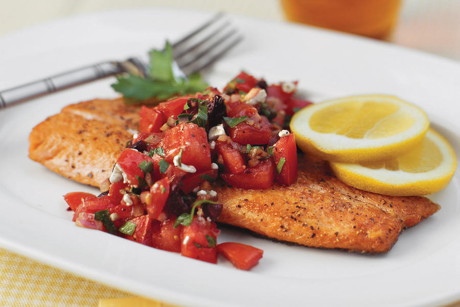 Pan seared trout with italian style salsa quick and easy for Easy fish recipes for dinner