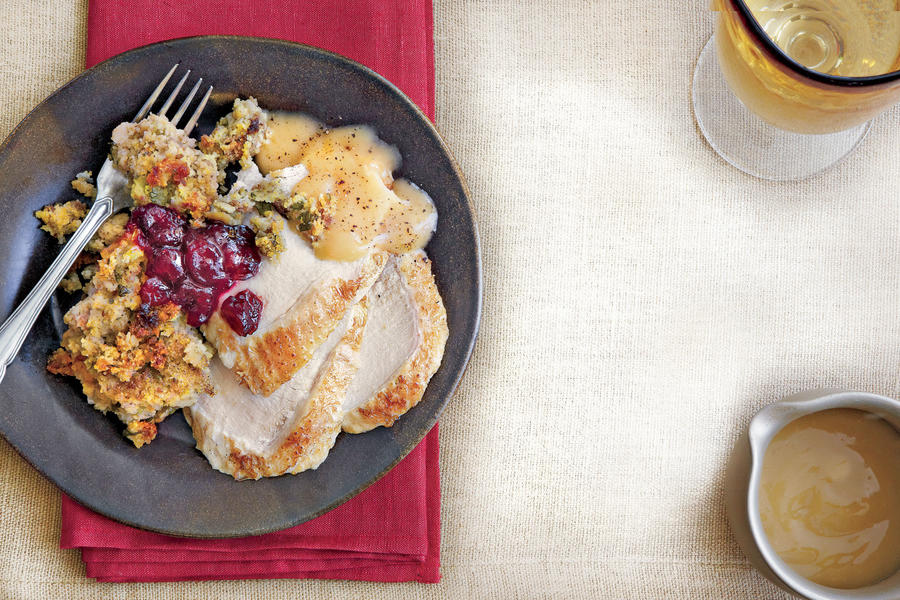 Turkey Breast and Herb-Cornbread Stuffing