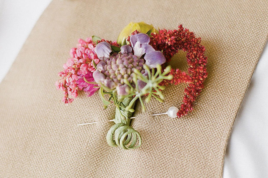 Scabiosa and Heather Boutonniere