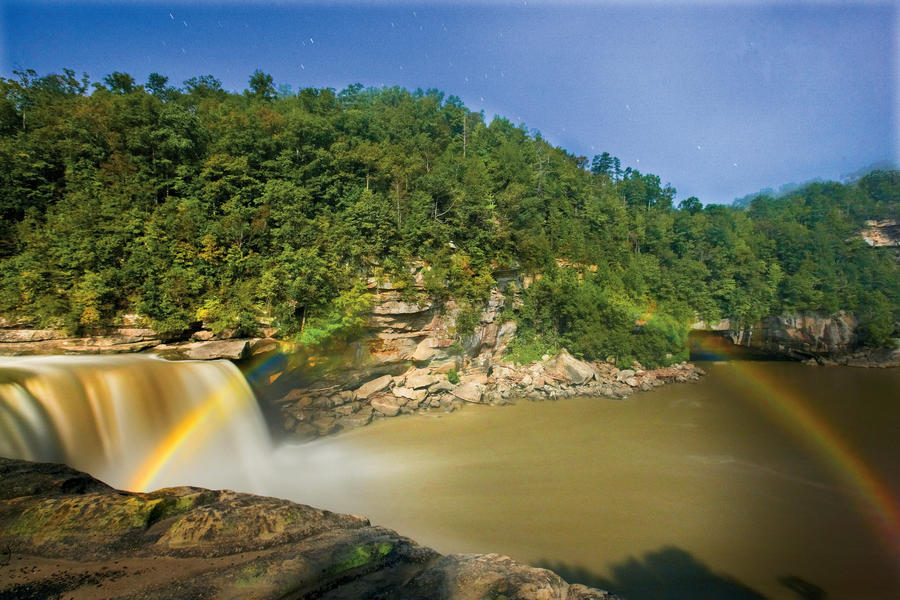 """Wow Factor: Cumberland Falls, aka the """"Niagara of the South,"""" creates a rare moonbow when its spray catches the light of a full moon.You'll Love If: You always wondered about that pot of gold.Explore It:  Visit Cumberland Falls State Resort Park during"""