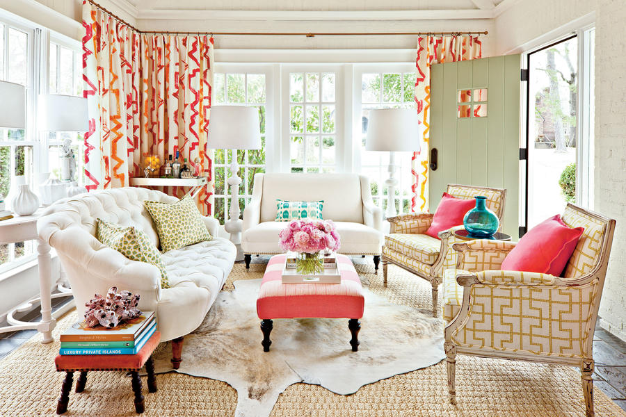 Decorating sunrooms punch up your palette southern living Living room furniture styles and colors