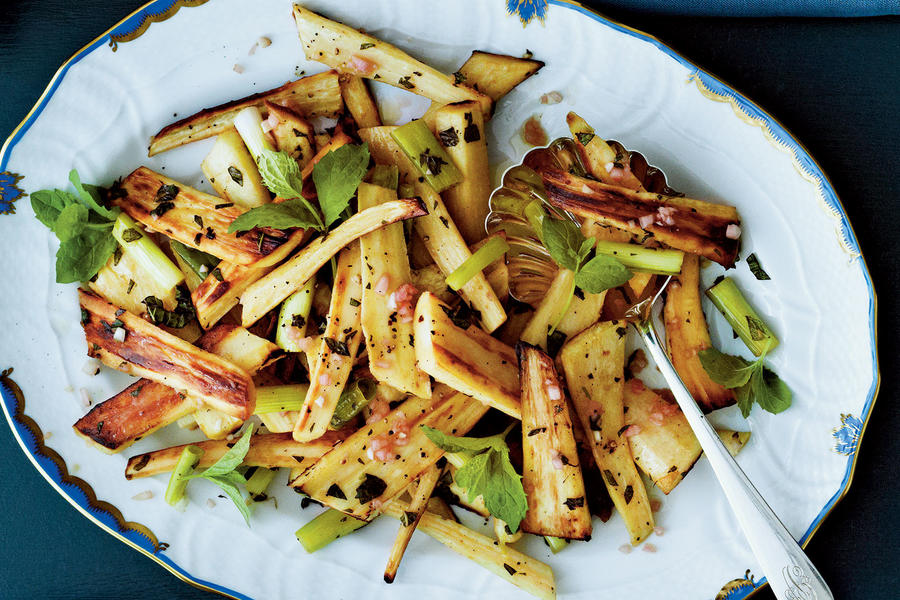 Roasted Parsnips with Mint