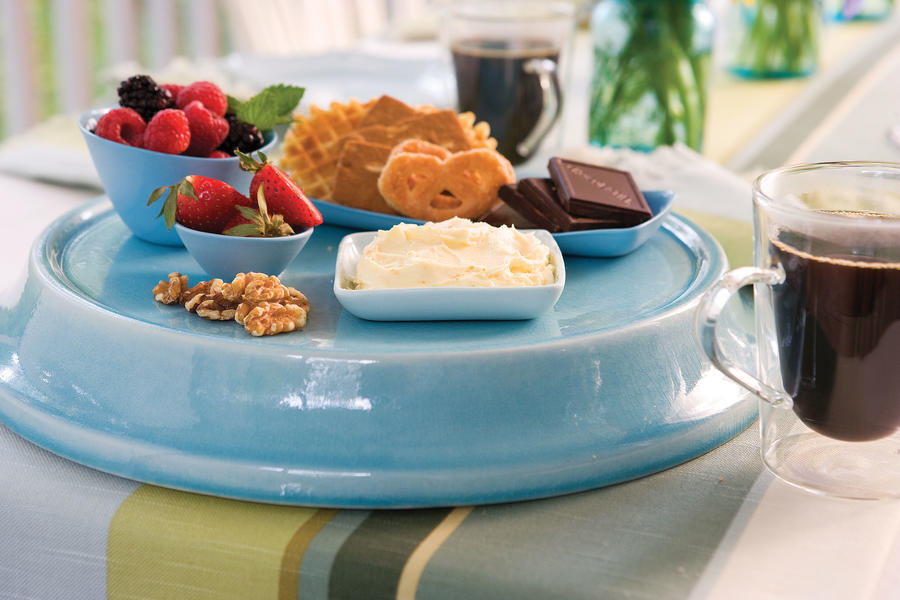 Sweet Dip With Cookies and Fruit