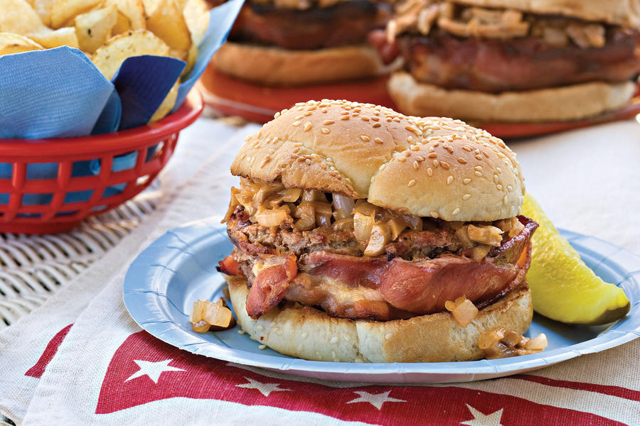 Fourth of July Menu: Bacon-Wrapped Barbecue Burgers