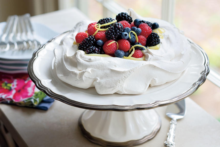 Pavlova With Lemon Cream and Berries