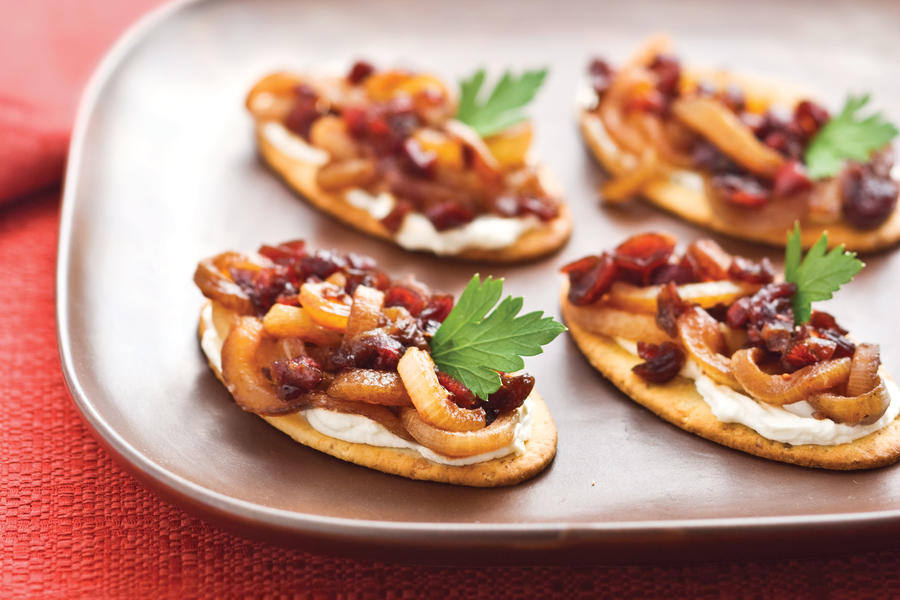 Caramelized Onion-Cranberry Cream Cheese Bites