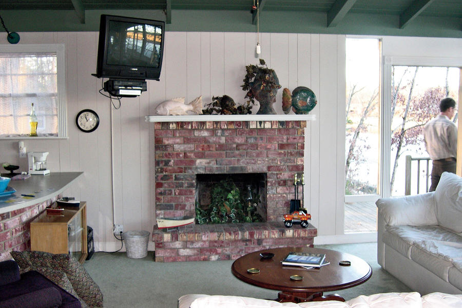 White Painted Home Decor: Mantel Area: Before