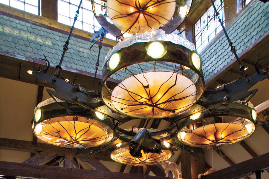 tim burrows's chandeliers in the lobby of big cedar lodge