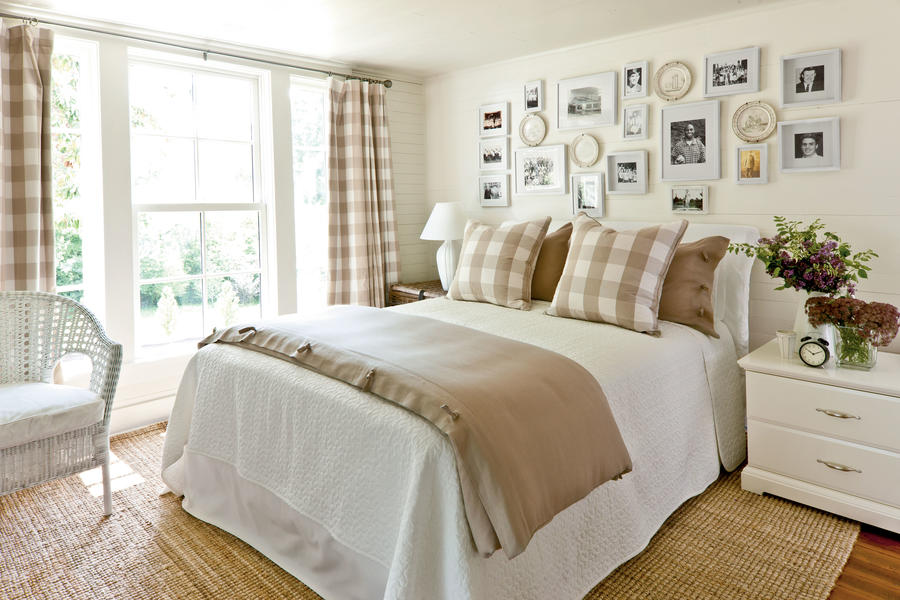 Khaki Gingham Guest Bedroom