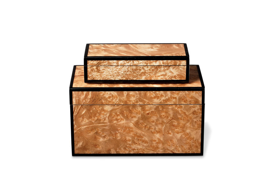 Walnut Burl Boxes with Black Lacquer