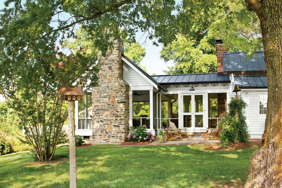 Farmhouse addition charming home exteriors southern living for Southern farmhouse