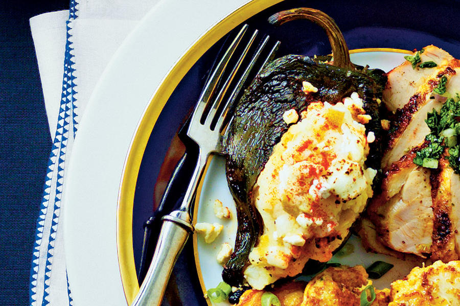 Poblanos Stuffed with Goat Cheese Mashed Potatoes